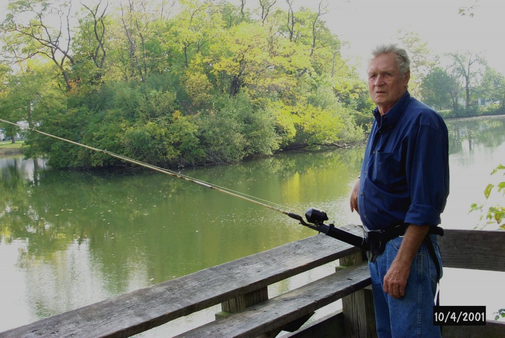 Adaptive fishing pole being used by Jim who has use of one hand